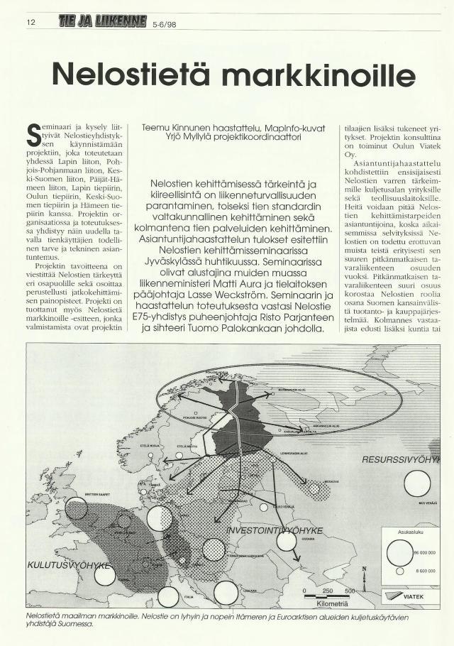 Tie- ja Liikenne 5-6, 98, Nelostietä markkinoille, 1. sivu