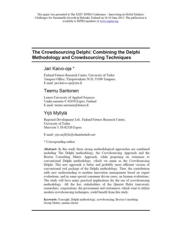 Delphi Crowdssourcing