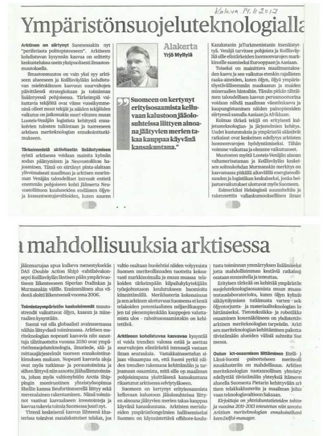 Kaleva Alakerta 14.11.2013, Ympäristönsuojeluteknologialla mahdollisuuksia arktisessa