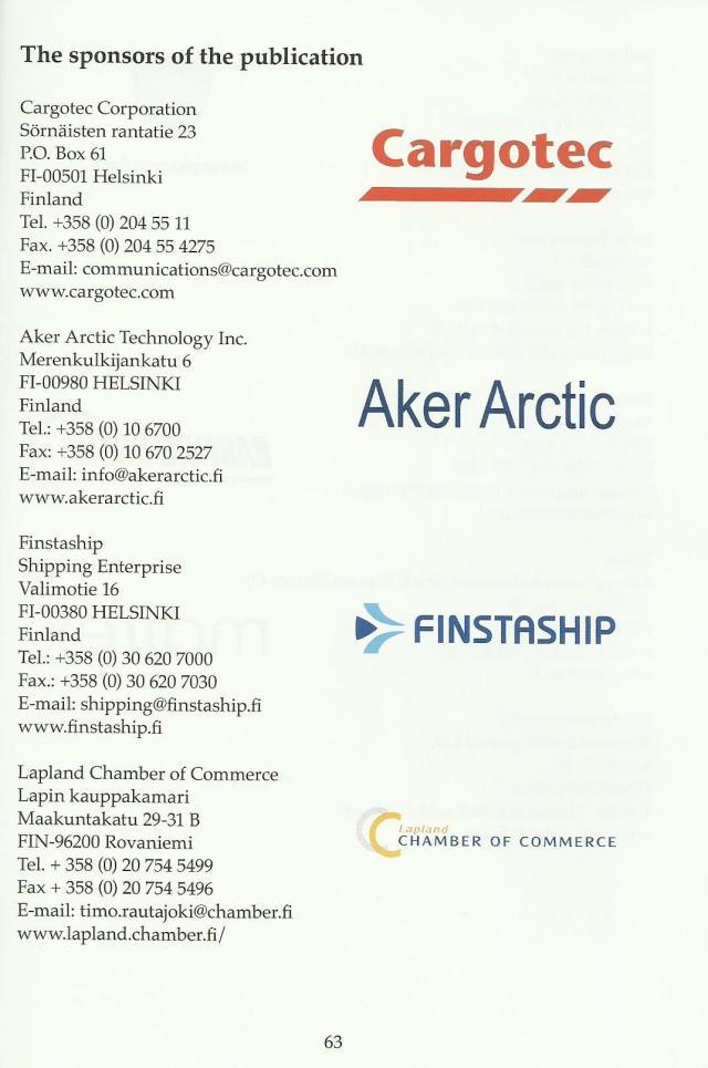 Julkaisun sponsorit, logo ja yhteystiedot