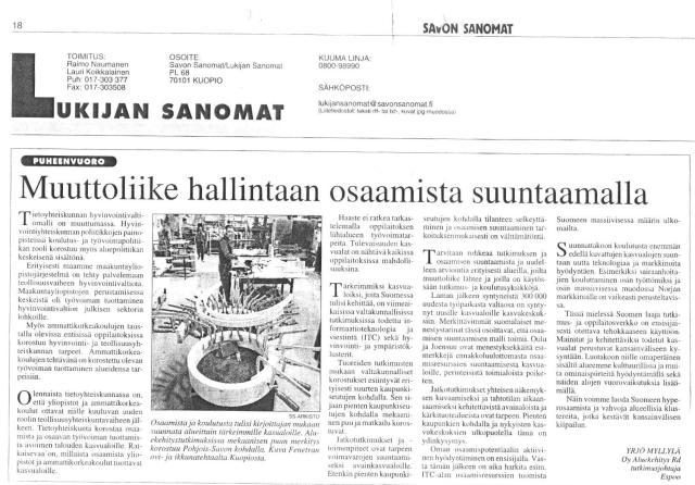 2008 Savon Sanomat, Muuttoliike hallintaan 00