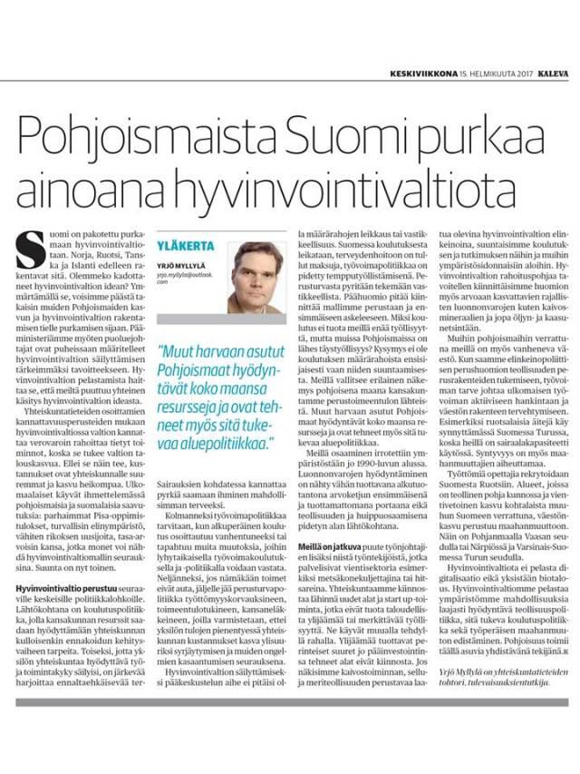 Kaleva Yläkerta 15.2.2017, Pohjoismaista Suomi purkaa ainoana hyvinvointivaltiota