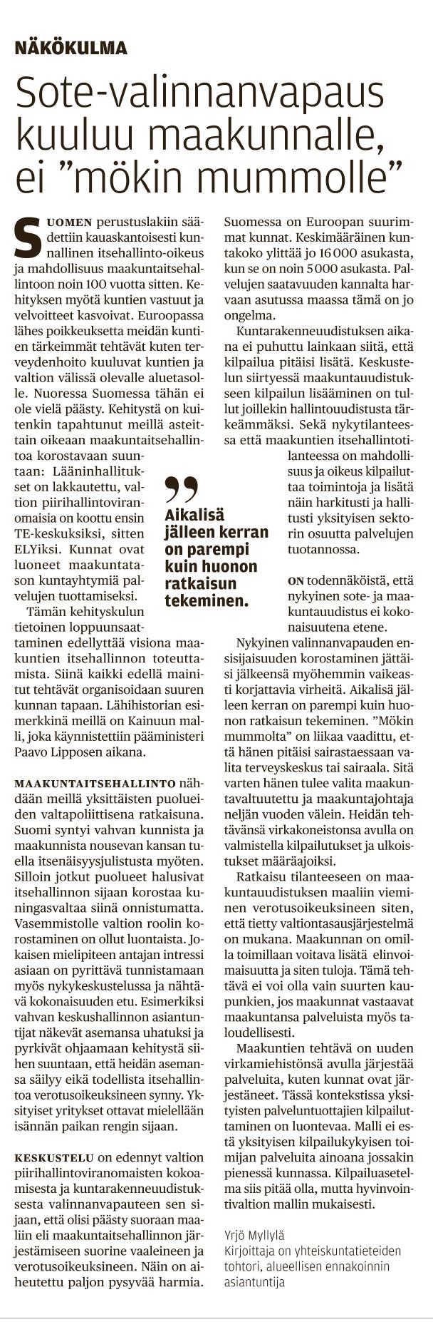 Sote-valinnanvapaus kuuluu maakunnalle, Etelä-Saimaa 18.12.2017